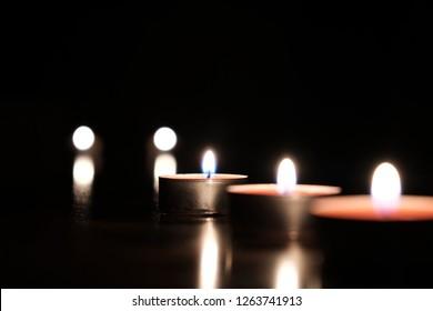 burning candle at nigth