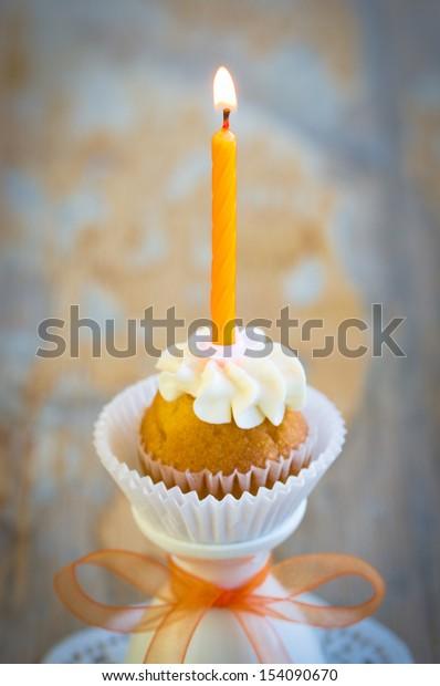 Pleasing Burning Candle On Tiny Birthday Cupcake Stock Photo Edit Now Birthday Cards Printable Opercafe Filternl