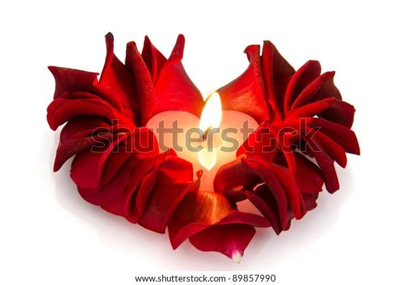 Burning Candle Rose Petals Heart Shape Stock Photo (Edit Now