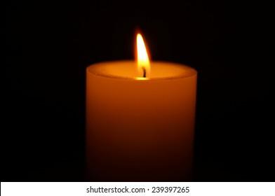 Burning candle single cylinder
