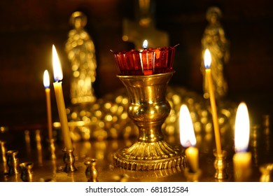 burning candles in Church