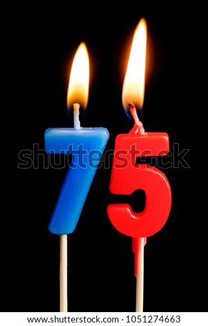 Burning Candles In The Form Of 75 Seventy Five Figures Numbers Dates For