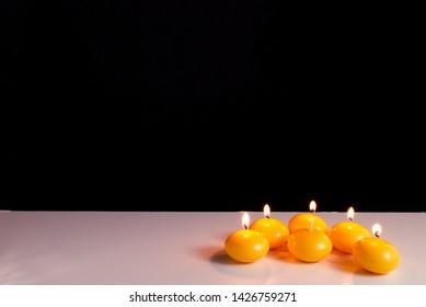 Burning candles on a white background. Obon festival. Diwali festival