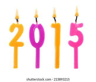 Burning candles on white background, number 2015, new year concept