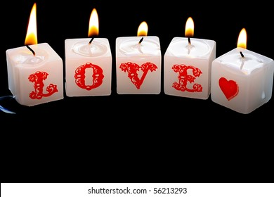 Burning Candles Spelling Love
