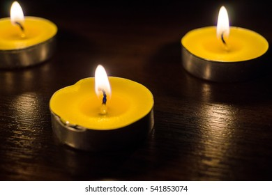 Burning candles - a symbol of remembrance. 27 January International Holocaust remembrance day