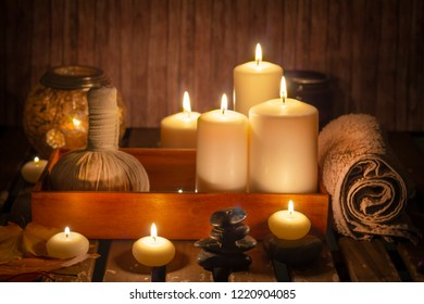 burning candles in wellness spa