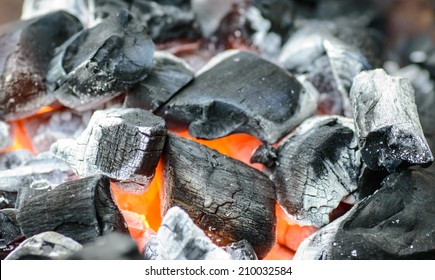 Burning charcoal grill
