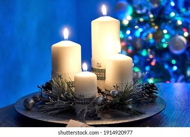 Burning christmas candle, xmass tree