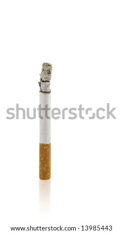 burning cigarette isolated on white background