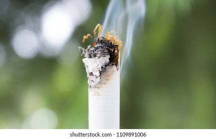 burning cigarette pictured outdoor