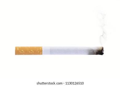 Burning cigarette smoke isolated on white background