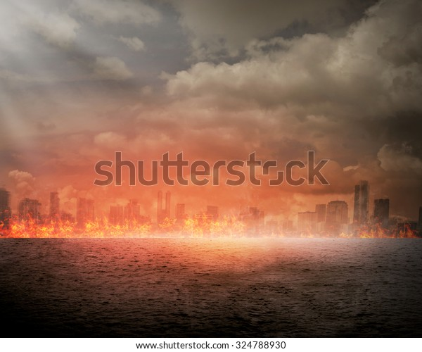 Burning City Disaster Concept You Can Stock Photo (Edit
