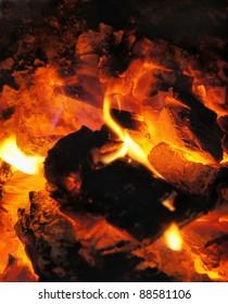 Burning coal in the furnace