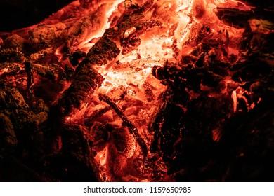 burning coal. smoldering coals. ember
