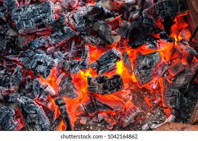 Burning Coals. Background. Close-Up.