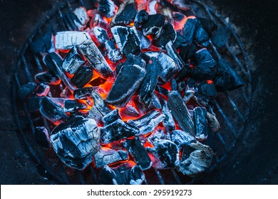 Burning coals, close up, background, top view