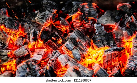 Burning coals of wood as a background