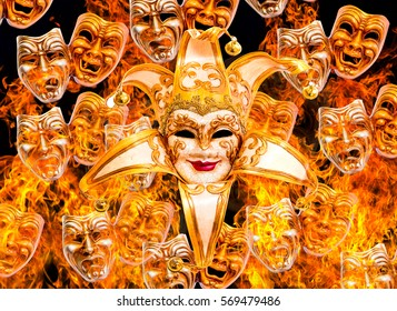 Burning comedy and tragedy theatrical venetian mask