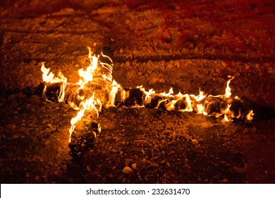 Burning cross on the chain, for religion concepts