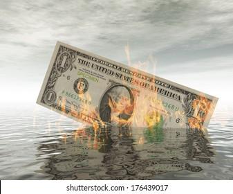 Burning Dollar Bill in the Water