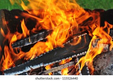 Burning down fire. Last embers and ashes
