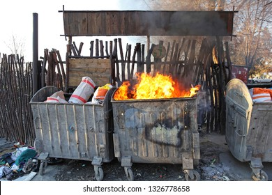 Burning Dumpster Fire Disaster Pollution Communal Problem