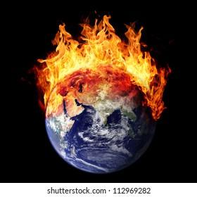 Burning earth globe east hemisphere (without gloving) (elements furnished by NASA)