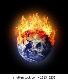 Burning earth globe east hemisphere (with gloving) (elements furnished by NASA)