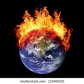 Burning earth globe west hemisphere (without gloving) (elements furnished by NASA)