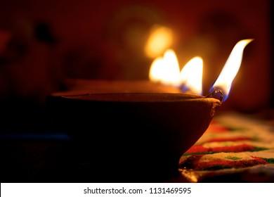 burning earthen lamp