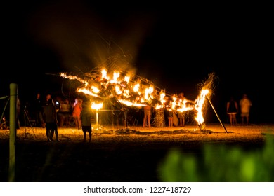 A burning effigy of a marlin in Bimini during the night