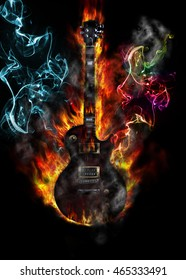 Burning electric guitar concept with flames and colored smoke