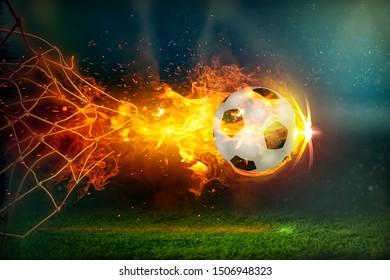 Burning Fiery Soccer Ball In Goal With Net In Flames