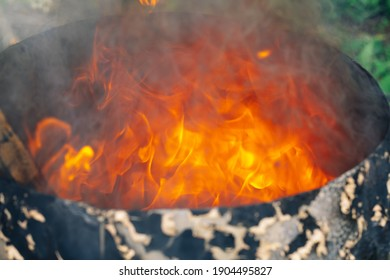 burning fire in a barrel