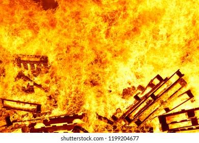 Burning fire. Bonfire. Fire fighting. Flame ignition. Warning. Danger