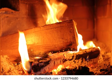 burning fire wood in a fire place