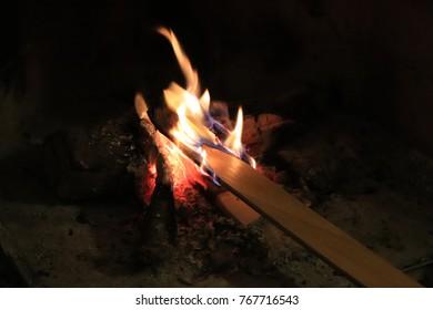 Burning fireplace. Fireplace close up