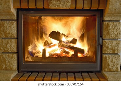 Burning Fireplace in winter time