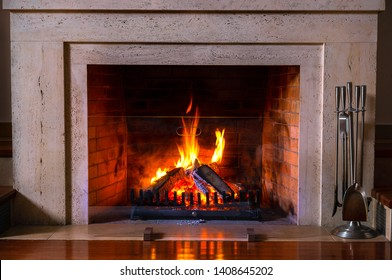 Christmas Fireplace Screen.Christmas Fireplace Background Images Stock Photos