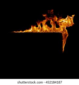 Burning flame or fire frame isolated on black background