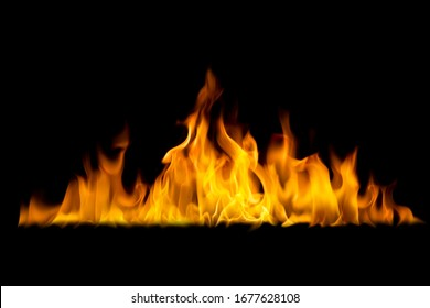 A burning flame On a black background