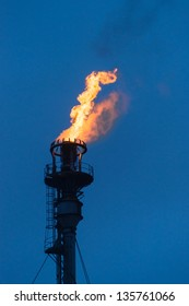 Burning flare at oil refinery