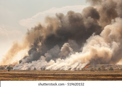 Burning garbage heap of smoke from a burning pile of garbage