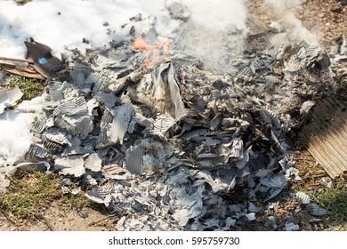 Burning garbage on the street