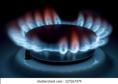 Burning gas in a circle on isolated on black.