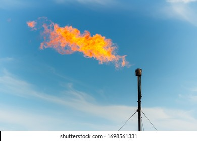 Burning gas escaping from the pipe as a flame