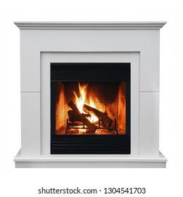Burning gas fireplace isolated on white background.