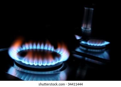 Burning gas of a kitchen range