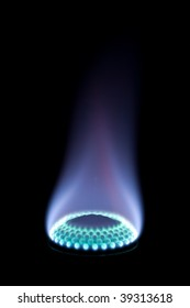 Burning gas on a black background